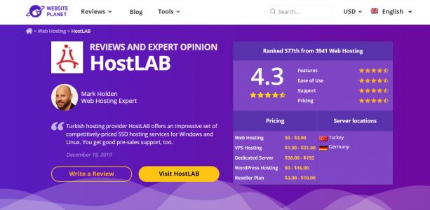 Dünyaca Ünlü Test Sitesi HostLAB'ı Puanladı!